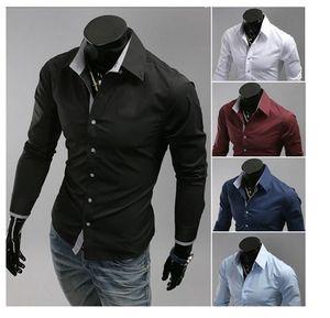 Elbise Gömlek Erkekler Patch Güzel Izgara Plaid Desen Tek Breasted Düğme Kalıp Uzun Kollu Turn Down Yaka Erkek İş Gömlek Ücretsiz Kargo