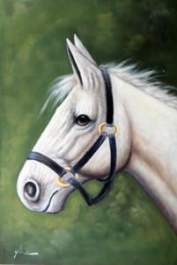 Çerçeveli Beyaz At Portre Equine Başkanı, Hakiki Handpainted Hayvan Equine Sanat yağlıboya Kalın Tuval Müzesi Kalitesi Üzerinde Çok boyutu J043