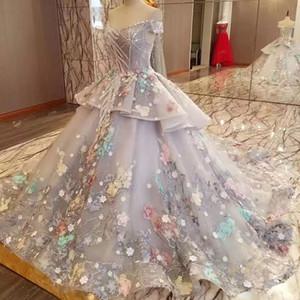 Moyen-Orient Princesse charmante robe de mariée perles épaules coloré fleur Robes de mariée Appliques Fée Robe grise récent de mariée