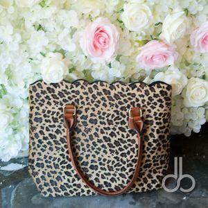 (Pele curta) Atacado Blanks Moda scalloped tote bag Leopard bolsa casual com grande capacidade Cheetah Scalloped Bolsa DOM103172