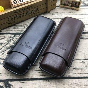 COHIBA Estuche para puros de viaje de 2 tubos Color marrón y color negro Funda de puros Humidor para fumar