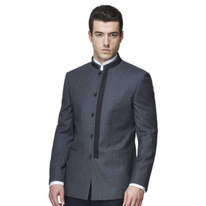 Costumes Homme Tailor Made Col Mandarin Tops Casual Blazer Mode Haute Qualité Handmade Custom Wool Suits