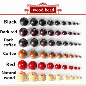 DY23 Wholesale 4-20mm Full size Loose Spacer For Charm Bracelet wood bead 6 color Assorted Wooden Round Bead