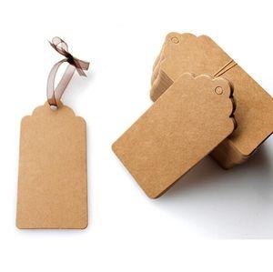 500 Pcs DIY Dentelle Pétoncle Tête Étiquette Bagages Kraft Papier Étiquettes Marron De Mariage Note Blanc prix Hang tag Kraft Cadeau De Noël 5x3 cm