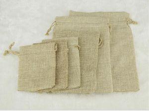 Halloween Navidad 7 * 9CM Bolsas de lino de doble capa con cordón Paquete de regalo Titular de la boda Bolsas de arpillera Bolsas de saco móviles de arpillera