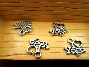 75pcs-- Ben Yoga Charms Aşk, Antik gümüş Yogi OHM OM Sembol Meditasyon Sembol Meditasyon çekicilik kolye 14x13mm