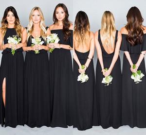 2017 Bohemian Gelinlik Modelleri Düğün Konuk Giymek V Boyun Nane Yeşil Siyah Mercan Şifon Bölünmüş Uzun Parti Artı Boyutu Onur Hizmetçi törenlerinde