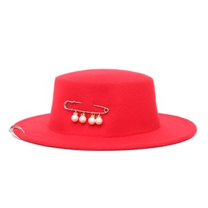 New Copper Ring Pin Flat Top Hat Trend Donna Wide Brim Fedora Trilby Cappelli Ladies Wool Feltro Bowler Gambler Top Hat Europeo USA