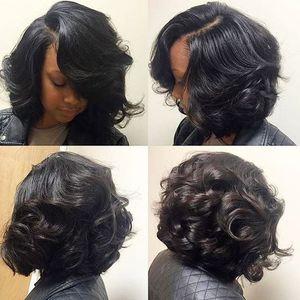 Ondulé bouclés Bob Perruques de cheveux humains côté Bangs Pour Les Femmes Noires 180% densité vierge cheveux complet Naturel Avant dentelle perruque bob style