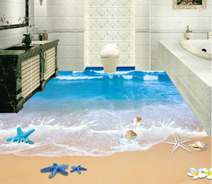 Top Classic 3D European Style 3D beach bathroom with floor waterproof wallpaper for bathroom wall