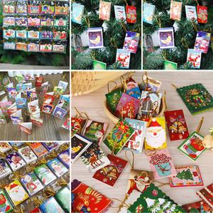 6.5 * 5.5CM 크리스마스 장식 카드 인쇄 된 크리스마스 위시 카드 달콤한 사랑스러운 크리스마스 트리 장식품 카드 선물 WX9-133