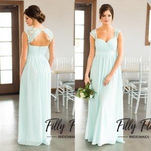 Moins de 50 $ Robes de demoiselle d'honneur en mousseline Sage Navy Blue Une ligne robes de mariée pour Summer Beach Country Boho mariages