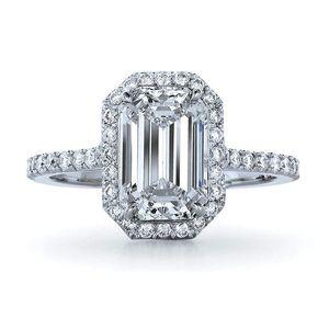 Şaşırtıcı 1Carat Zümrüt Kesim Sentetik Elmas nişan yüzüğü hakiki Katı Gümüş Yüzük