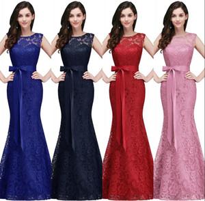 Royal Blue Mermaid Prom Dresses lungo 2018 Nuovo progettista pieno pizzo elegante bordeaux rosso abiti da sera formale economici abito da damigella d'onore CPS720