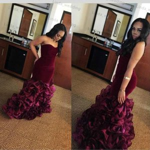 Lungo Borgogna Sirena Arabo Prom Dress Sud Africa Sweetheart A File Backless Laurea Evening Party Gown Plus Size Custom Made