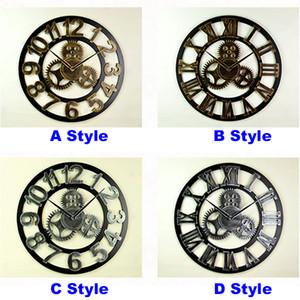 4 Stil Vintage Hohl Gear Runde Uhr Kreative Home Wohnzimmer Schlafzimmer Dekor Wanduhren Kostenloser Versand HH7-184