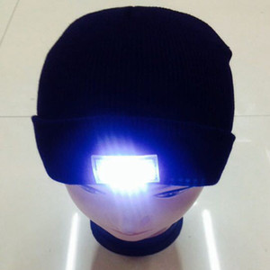 LED Lighting Knitted Hats Women Men Camping Cap Travel Hiking Climbing Night Hats Warm Winter Beanie Light Up Cap Free Shipping ZA1510
