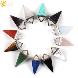 CSJA Mulheres Homens Colar De Pedras Preciosas Fazendo Cone Pêndulo Pirâmide Encantos Pingente Jóias Real Rose Quartzo Ágata Preta Cristal De Saúde E104 B