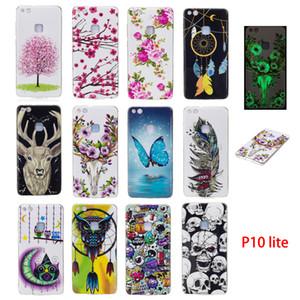 Мягкие TPU Случаи Обложка для Huawei P10 Lite Светящийся в ночное время Dark Красочные бабочки Цветы Сова Sika Deer Lovly животных