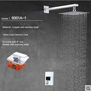 """8 """"10""""12 """"황동 광장 Rainfall 샤워 벽에 장착 함 숨겨진 단순 샤워 세트 handheld shower6001A"""