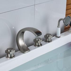 Современный палубе 5pcs ванна кран набор с ручной душ спрей матовый никель латунь отделка