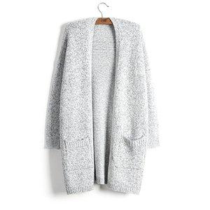 Свитер женское пальто мода осень зима толстый теплый кардиган новый женский свитер серый длинный стиль вязать твердый с карманом негабаритный 5XL