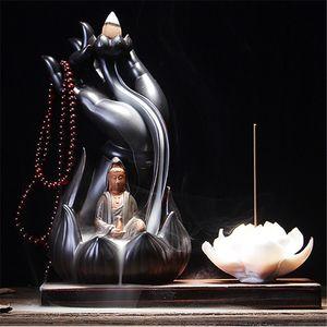 1 PC al por mayor quemador de incienso bergamota Lotus Línea de la vendimia del esmalte de Buda incienso incensario de humo de cerámica Placa de Reflujo