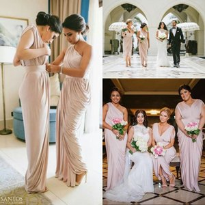 2017 Guaina arrossire abiti da damigella d'onore lungo una spalla chiffon Pieghe Bridemaids abito piano di lunghezza abiti damigella d'onore