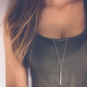 Mode Bijoux Simple Ruban Plaqué Or Chaîne long collier Lariat Charme Bar ColliersPendant collier Pour les femmes cadeau