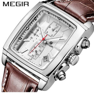 2021 Chronograph Watches Men fashion Quartz mens Dress Watch Genuine Leather charm Men's Wristwatch date rectangle dial 6 hands clock