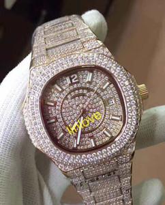 Luxury Brand Icedout Womens Full Diamond Bracciale Platino Nautilus 7021 / 1G-001 Automatic Ladies Watch Mens Orologi Uomo Reloj Wristwatch