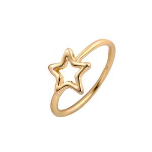 En gros De Mode Star Anneaux Sanctués à Cinq branches Étoiles Argent Or Rose Plaqué Or Anneau pour les Femmes Fille Peut Mélanger Couleur EFR027