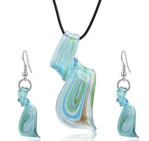 Streamer Glitter Murano Lampwork soffiato Ciondoli in vetro veneziano Collane e orecchini Set di gioielli Gioielli moda fatti a mano