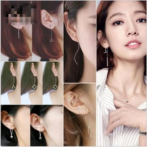 Mix Kore Fringe Asimetrik Kulak Tel Yıldız Üçgen Geometrik uzun Dangle Avizeler Küpe Kulak Hoop Gümüş Takı Yüksek Kalite