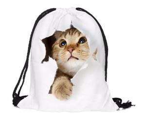 Venda QUENTE 3D impressão Mulheres homem Mochila mochilas de Viagem cat mochila cordão saco 10 pcs frete grátis