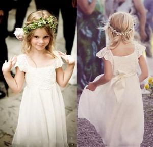 Boho Beach Cap Sleeves Flower Girl Dresses 2021 Lace Chiffon Kids Formal Gowns for Weddings with Sash First Communion Floor Length
