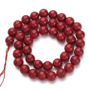 1Strand / lot круглый красный коралловые бусины натуральный камень мода ювелирные изделия бусины для изготовления ювелирных изделий Diy браслет ожерелье свободные бусины