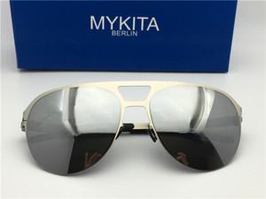 새로운 mykita ARON 선글라스 초경량 거울을 가진 남자 조종사를위한 메모리 멋진 야외 디자인을 여성을위한 대형 안경 선글라스 메모리 합금
