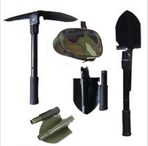 Askeri Taşınabilir Katlanır Kamp Kürek Survival Spade Mala Dibble Pick Acil Bahçe Açık Aracı Çok Fonksiyonlu Katlanır Çelik maça