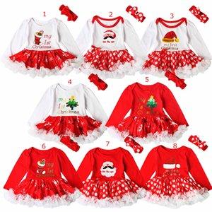 Рождественская вечеринка девочка ползунки набор Рождество Санта шляпа загрузки Письмо печати дизайн с длинным рукавом ползунки пачка платье + оголовье из двух частей наборы