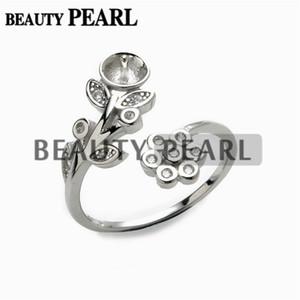 1 Stück Perle Schmuckzubehör Ring Semi Mount 925 Sterling Silber Floral DIY machen Ring leer