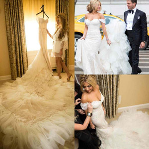 Fabulous 2017 Lace Off Shoulder Cathedral Train Wedding Dresses Mermaid Luxury Lace Applique Beaded Long Bridal Gowns Custom Made EN11042