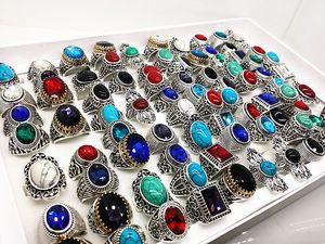 도매 대량 제비 믹스 스타일 여성의 남성 골동품 실버 빈티지 청록색 돌 반지 브랜드 새로운