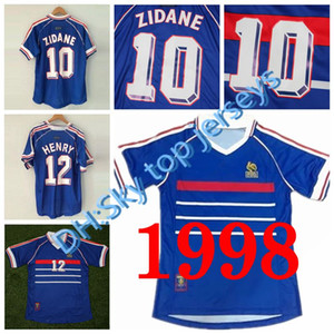 En gros 1998 rétro frances maillots de football maison haut thai 3AAA customzied nom numéro zidane Henry uniformes de football maillots de football