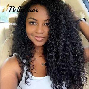 Peruanische Jungfrau-Menschenhaar-Perücken für schwarze Frauen Medium Cap Spitze-Front-Perücken 130% Dichte Curly Natural Color Bellahair