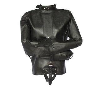 Female freesize leather sexy bondage jacket black color restraints clothes bound clothing