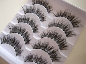 5 paires / boîte Transparent False Eyelashes Désordre Cross Thick Natural Faux Cils Naturels Maquillage Professionnel Conseils Bigeye Long Faux Eye Lashesl