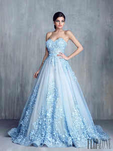 Tony Chaay Sky Blue 3D Floral Formal Prom Dresses 2019 Modest Cinderella Sweetheart Handmade Flower Arabic Occasion Evening Party Gowns