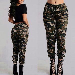 Camuflagem Impresso Calças Plus Size S-3XL Outono Exército Carga Calças Calças Femininas Cintura Elástica Calças