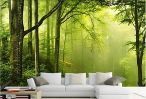 Quarto 3d papel de parede adesivo de parede não-tecido mural personalizado High-end 3 d floresta verde da natureza da pintura da foto murais de parede papel de parede 3D